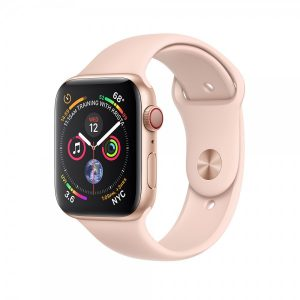 Apple Watch Series 4 40mm GPS + Cellular Silver Aluminum Case with Pink Sand Sport Band MTUJ2