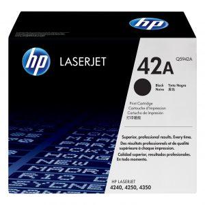 HP 42A Black Original LaserJet Toner Cartridge, Q5942A