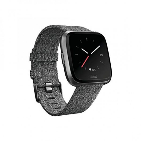 Fitbit Versa Special Edition Charcoal Woven Band Black Classic Band Graphite Aluminum Case
