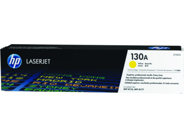 HP 130A Yellow Original LaserJet Toner Cartridge, CF352A