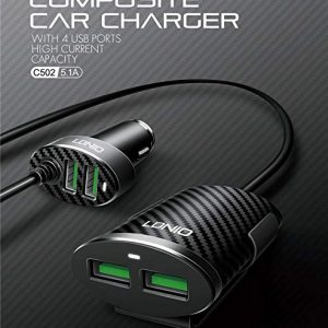 LDNIO C502 4 USB Port Sharing 5.1A Electric Phone Car Charger With One Meter Cable Connect For Charging Mobile Phone