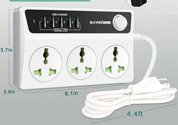 Bavin PC-512 3.4A Extension 5 USB & 3 Power Socket 1.8Meter Wire(Fast Charger)