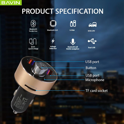 BAVIN Bluetooth 2.4A Car Charger 12W with Built-in Mic ,Flash Drive, TF Storage, Answer Call, Volume Controller, Play MP3 Music