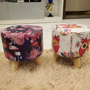 Wooden Printed Stool for Kids With Removable Soft Fabric ( 2 pairs )