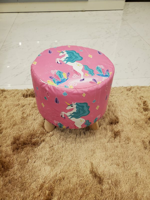 Wooden Printed Stool for Kids With Removable Soft Fabric