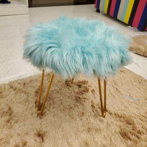 Sky blue Faux Fur three legs Stool