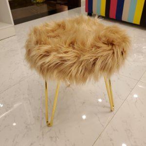 Brown Faux Fur three legs Stool