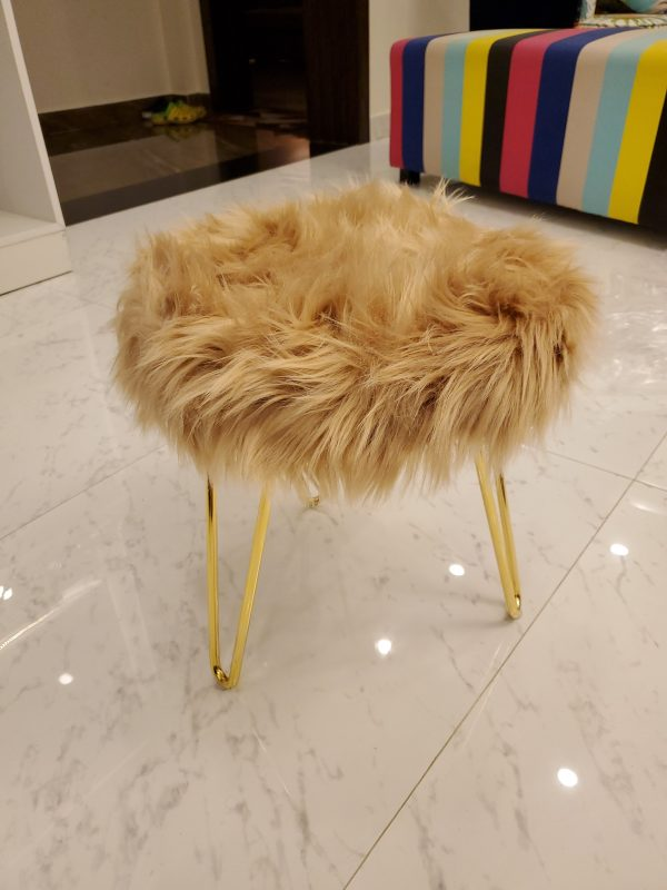Brown Faux Fur three legs Stool