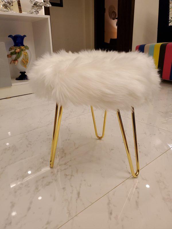 White Faux Fur three legs Stool