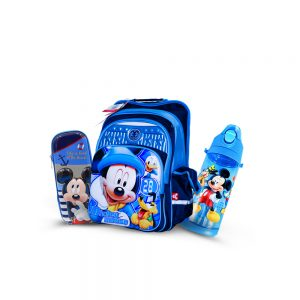 Original Disney Micky Mouse School Bag 3D SET With Bottle & Geometry Box