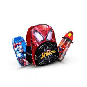 Original Disney Spider Man School Bag SET With Bottle & Geometry Box