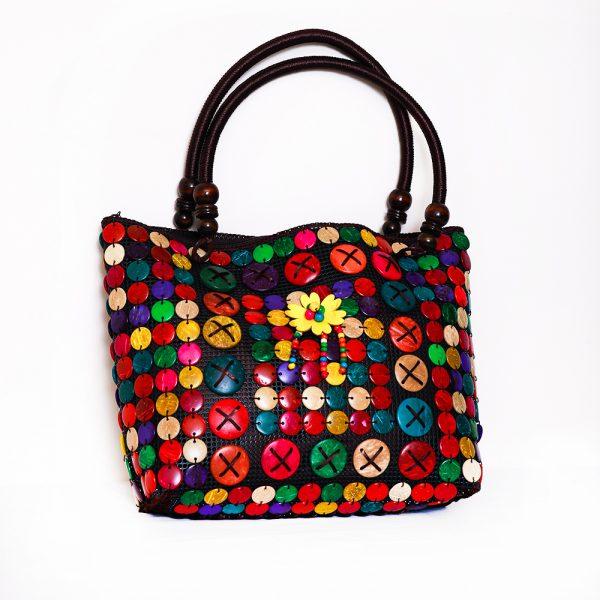 Multi-Color Buttons Ladies Hand & Shoulder Bag 39