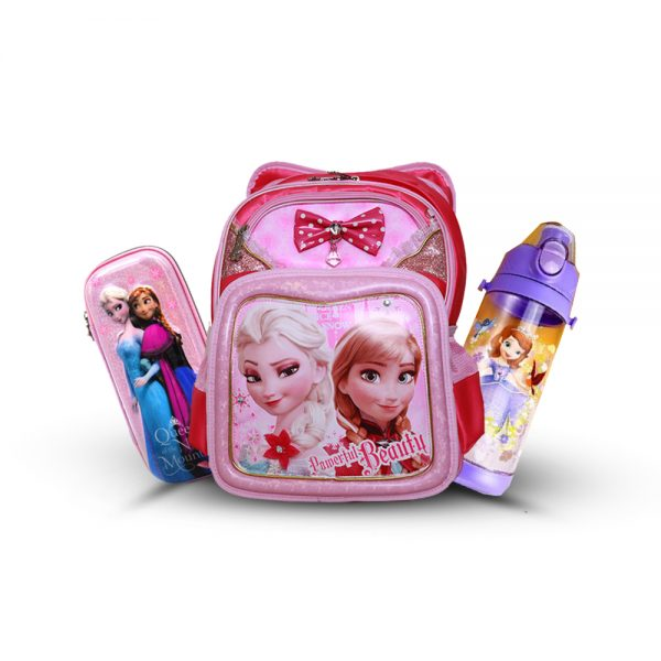 Original Disney Anna & Elsa School Bag SET With Bottle & Geometry Box