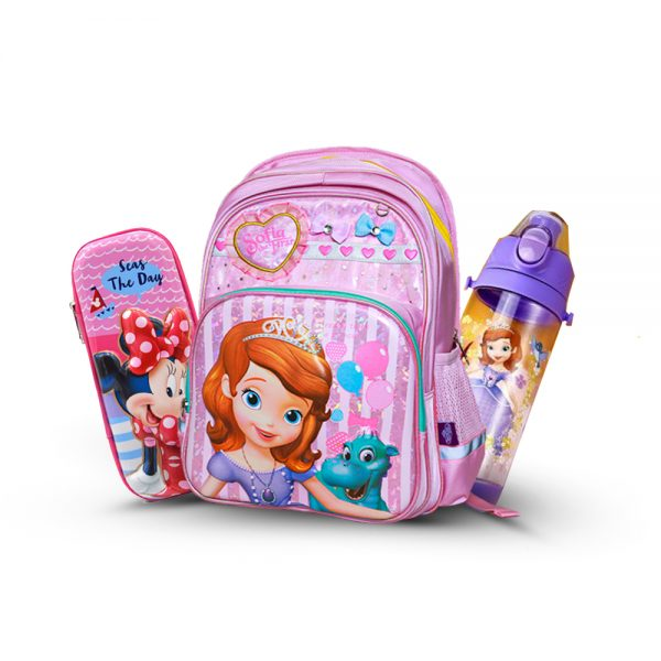 Original Disney Princes School Bag 3D SET With Bottle & Geometry Box