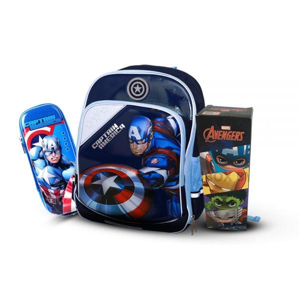 Original Disney Captian America School Bag 3D SET With Bottle & Geometry Box