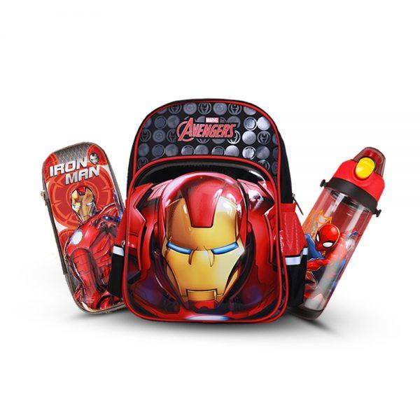 Original Disney Iron Man School Bag SET With Bottle & Geometry Box