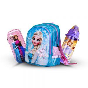 Original Disney Anna & Elsa School Bag SET With Bottle & Geometry Box