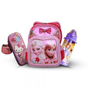 Original Disney Anna & Elsa School Bag SET With Bottle & Geometry Box 01