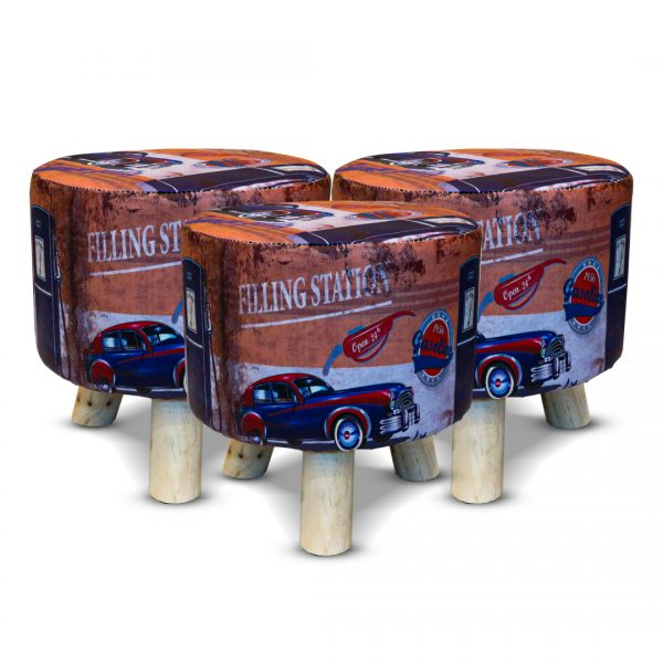 Wooden Printed Stool for Kids With Removable Soft Fabric SET 13
