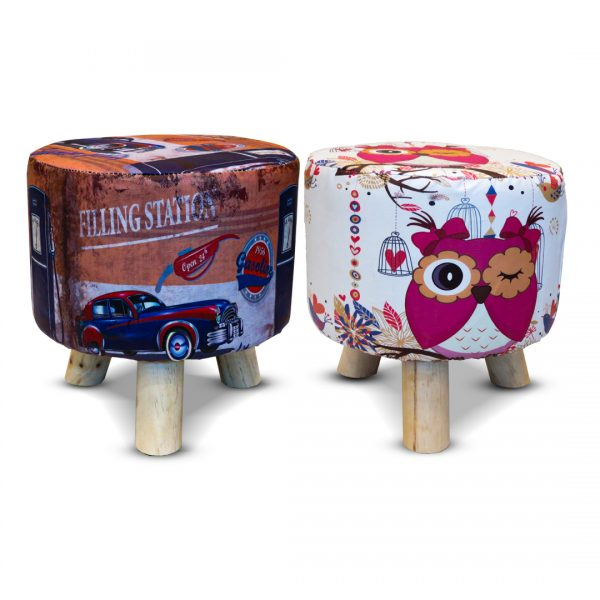 Wooden Printed Stool for Kids With Removable Soft Fabric SET 01