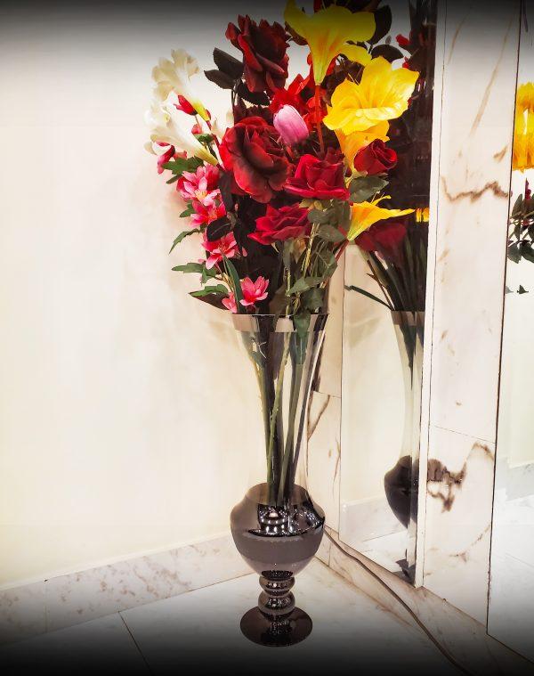 Glossy Brass Glass Long Neck Flower Vase