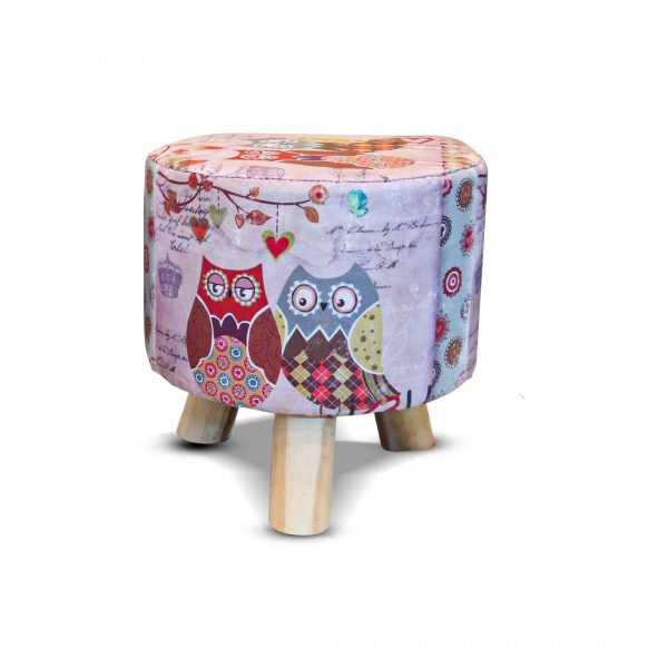 Wooden Printed Stool for Kids With Removable Soft Fabric 37
