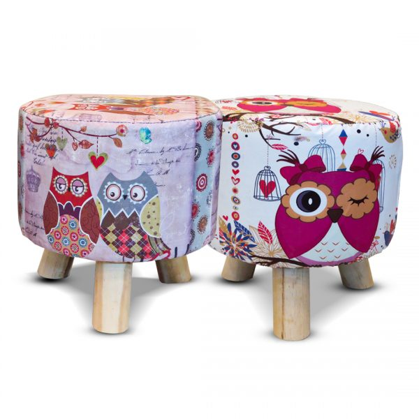 Wooden Printed Stool for Kids With Removable Soft Fabric SET 02