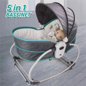 5-in-1 Rocker Bassinet Rocker, Bouncer Chair with Removable Bassinet