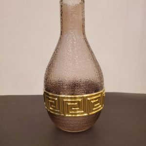 Deep Brown & Gold Glass Vase with Round Bottom and Long Neck