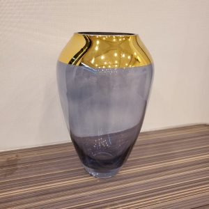 Blue Gold Plated Glass Flower Vase Indoor Table