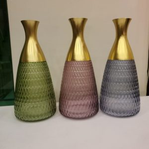 Color Crystal Glass Long Neck Flowers Vase Set