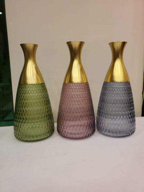 Color Crystal Glass Long Neck Flowers Vase Set