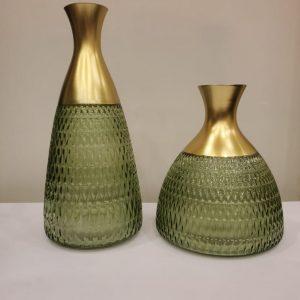 Green Crystal Glass Blown shape & Long Neck Flowers Vase Set