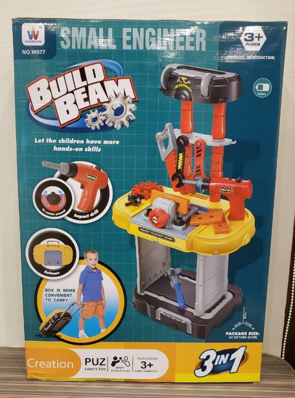 3 in 1 Small Engineer Build Beam Workshop Playset with Travel Luggage Trolley for Kids