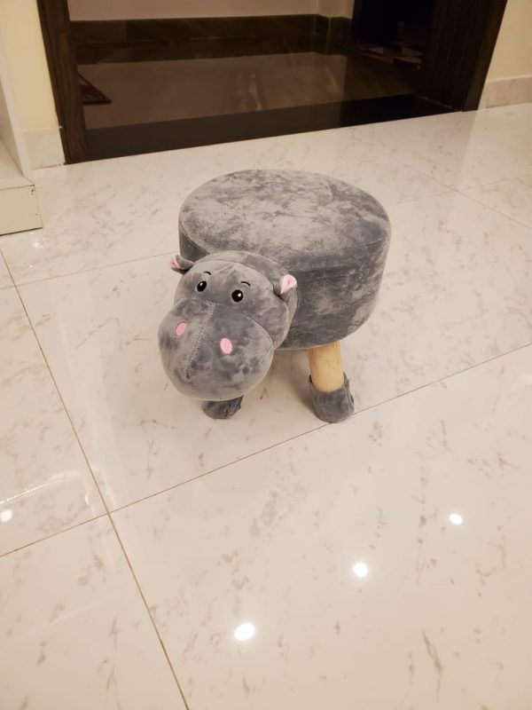 Wooden Animal Stool for Kids With Removable Soft Fabric