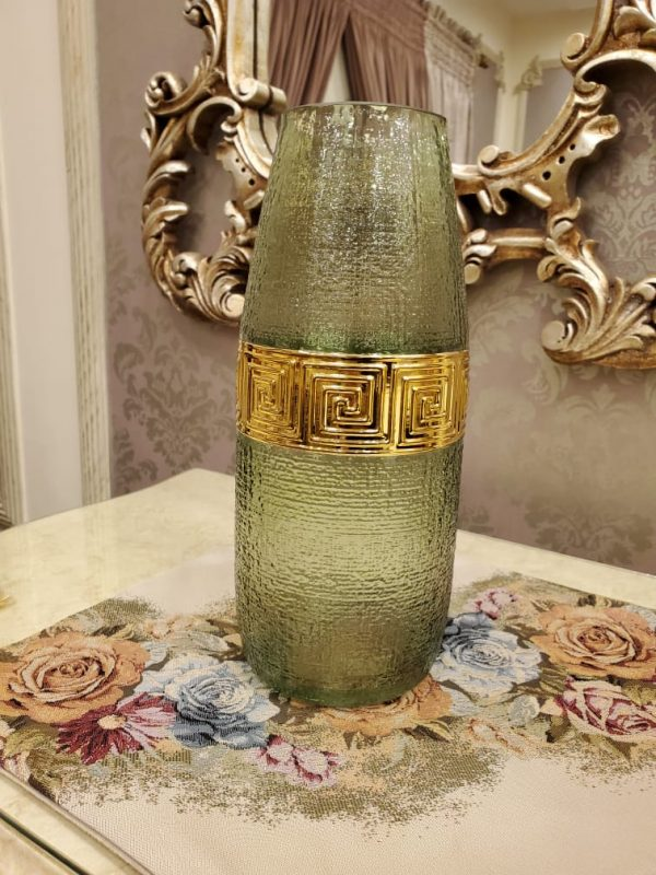 Crystel Green & Gold Glass Vase with Long Neck