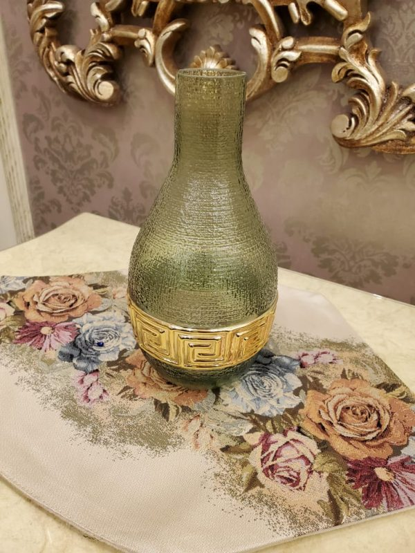 Crystel Green & Gold Glass Vase with Round Bottom and Long Neck