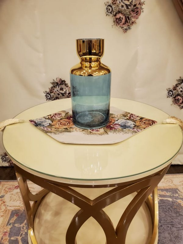 Turquoise Glass Bottles & Small Bud Flower Vases with Gold Trim