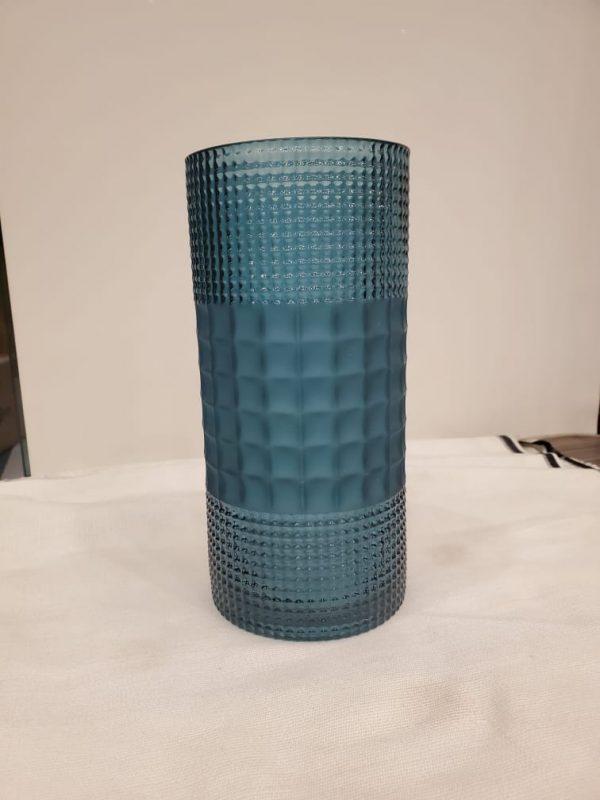 Blue Decorative Crystal Glass Flower Vase