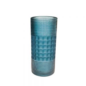 Blue Decorative Crystal Glass Flower Vase