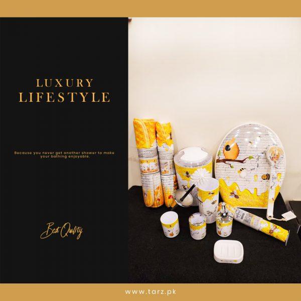 Bathroom Accessories 11 Pcs Set Color Yellow & White