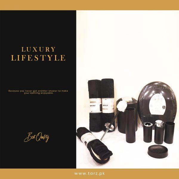 Bathroom Accessories 10 Pcs Set Color Black