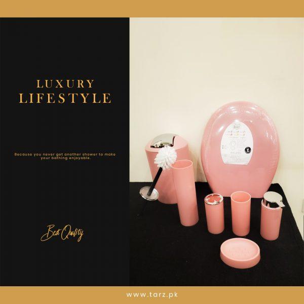 Bathroom Accessories 07 Pcs Set Color Light Pink 11