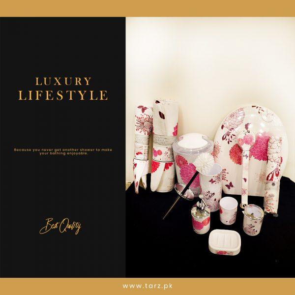 Bathroom Accessories 11 Pcs Set Color White & Pink