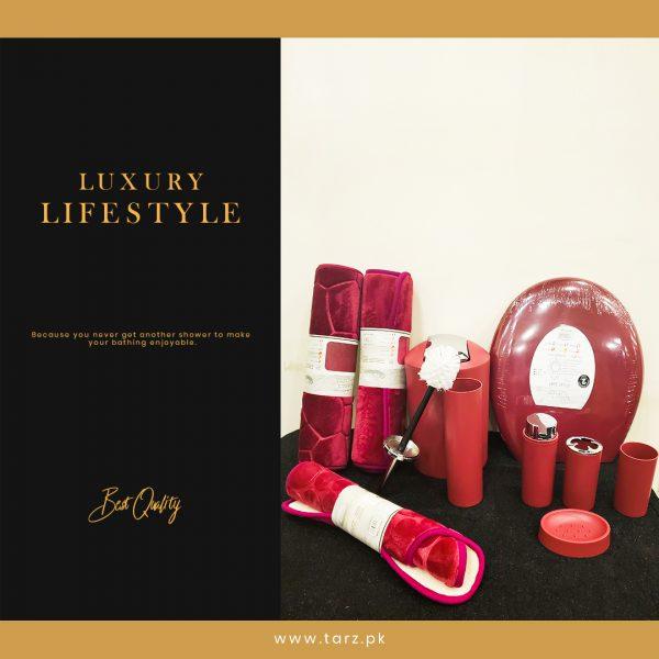 Bathroom Accessories 10 Pcs Set Color Red