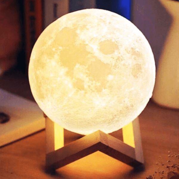 1Pcs 18cm Moon Lamp 3D Print Night Light USB Touch Control Lamp 3 Colors Change LED Moon Light