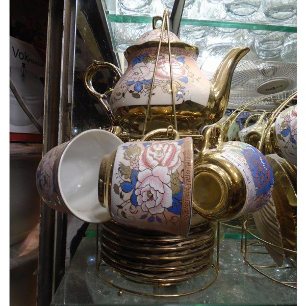 Golden 13 Pcs Tea Set For 6 Persons