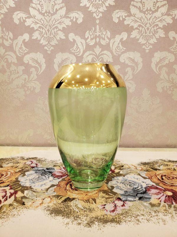 Blue Gold Plated Glass Flower Vase Indoor Table