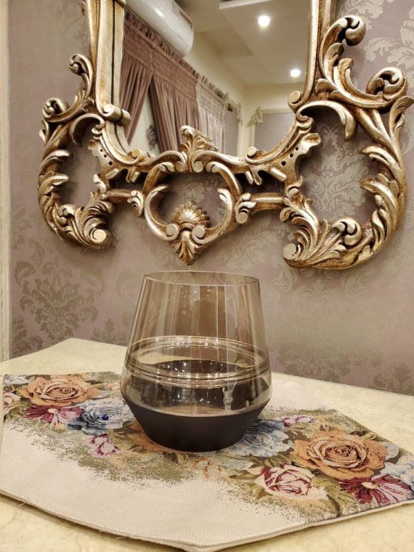 Black crystal and Transparent glass Flowers Decorative Vase