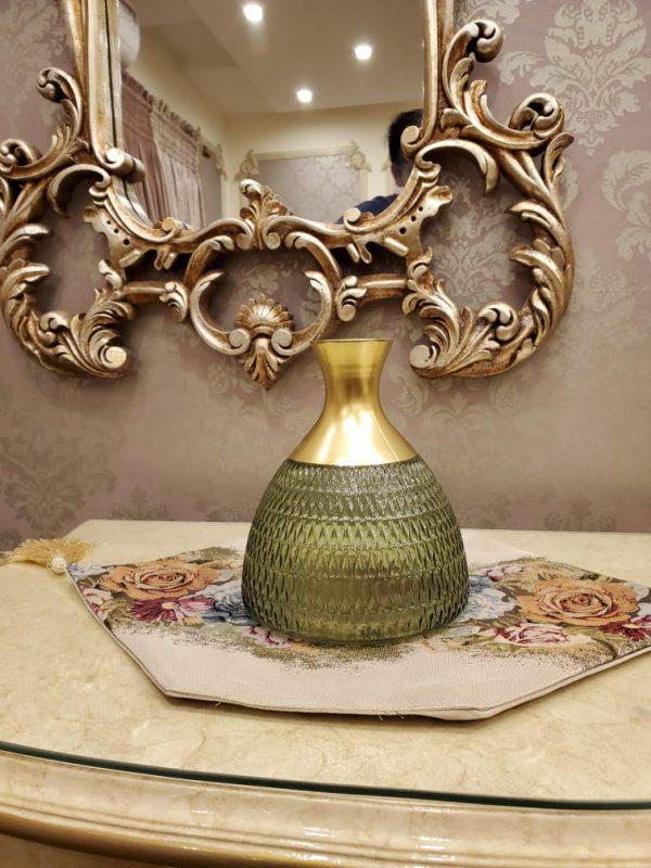 Green Crystal Glass Blown shape Flowers Decorative Vase